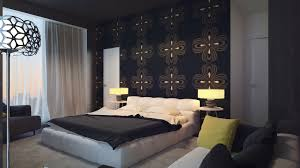 bedroom, Likeable Black Accents Wall Background Color With Beautiful  Pattern Ideas And Completed With Splendid