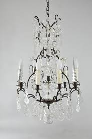 vintage cut crystal iron chandelier six sockets cut