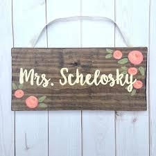wooden teacher door hanger sign name plaque gift appreciation signs personalised bedroom