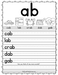Help your child learn to recognize the sounds and letters. Ab Word Family Worksheets Kindergarten Mom