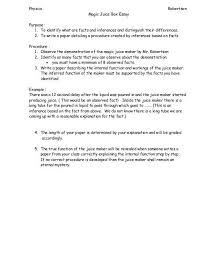Physics Robertson Magic Juice Box Essay Purpose 1 To