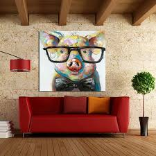 modern canvas art. Pig Wearing Glasses Painting On Canvas Modern Art A