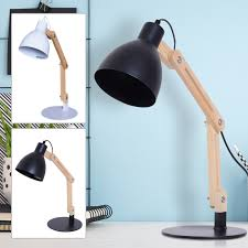 Modern Bedside Table Lamp Adjustable Wooden Soft Light Glow E14 Base