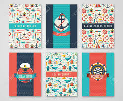 Flyers Theme Set Of Nautical And Marine Banners And Flyers Card Template