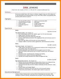 Resume Bio Example 100 Babysitter Bio Example Experince Letter 35