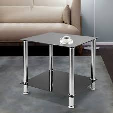 details about 2 tier modern small round glass sofa side end coffee table chrome steel