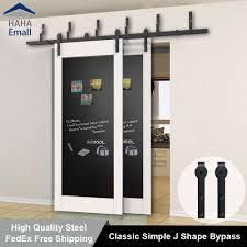details about rustic bypass sliding barn door hardware track double doors interior closet kit
