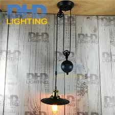 iron pulley retro edison bulb light chandelier vintage loft antique adjule diy e27 art ceiling pendant lamp