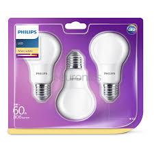 3 X Led Light Bulb Philips E27 60w 806 Lm