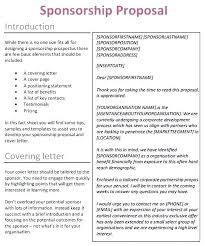 Cover Letter Sponsorship Event Sponsorship Cover Letter Mymuso Co