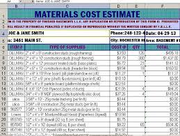Finished Basement Estimate Details
