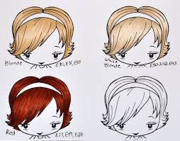 Copic Hair Color Chart Rendering A Variety Hair Colors Cards Coloring