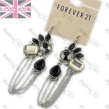 big 4 long chandelier earrings art deco crystal rhinestone vintage silver plated