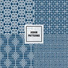 Asian Patterns Custom Blue Asian Patterns Design Vector Free Download