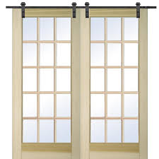 mmi door 60 inx80 in unfinished poplar 15 lite true divided barn door with