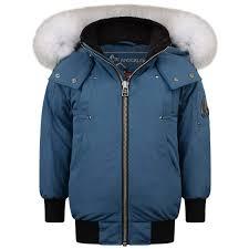 Kids Designer Coats Moose Knuckles Chambray Blue Bomber Jacket Boys Designer