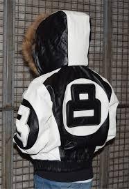 kids 8 ball white black leather jacket