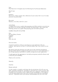Follow Up Email To Resume Submission Sample Follow Up Email After