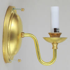single arm unfinished solid brass candelabra base wall sconce