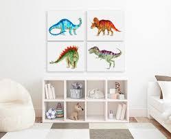 watercolor set of 3 dinosaur prints boy