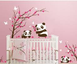 pandas play in cherry blossoms wall decal wall sticker