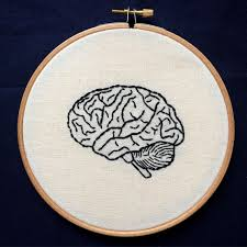 Science Embroidery Designs Hand Embroidery Anatomical Human Brain 6 Inch Hoop Art