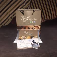gift bag and voucher at the buff day spa