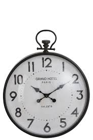 wall clock round sphere metal glass black large