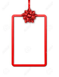 Holiday Gift Card Template Holiday Gift Card With Red Frame Ribbon And Bow On White Background