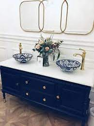 Vintage Bathroom Vanity Sink Basin Unit With Double Basins Furniture Twin Sinks Ebay