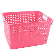 Pink Plastic Laundry Basket Mesmerizing Household Bathroom Plastic Rectangle Design Storage Basket Organizer