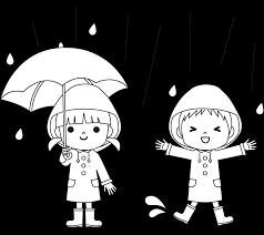 梅雨や雨の日の子供の服装イラスト白黒 園だよりお便りチラシで
