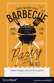 Bbq Poster Bbq Party Poster Royalty Free Vector Image Vectorstock