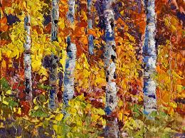 autumn explosion fall colours oil painting by marion hedger