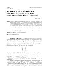 pdf recovering holomorphic functions from their real or imaginary parts without the cauchy riemann equations