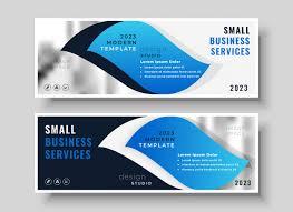 Business Banner Design Stylish Blue Business Banner Design Template Vector Free Download