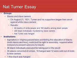 the civil war a nation divided ppt video online  nat turner essay groups slaves and slave owners