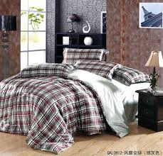 art deco boys bedroom decor with queen size silk comforter set brown red plaid plaid