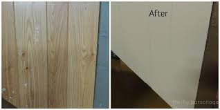 image of whitewash wood paneling before and after