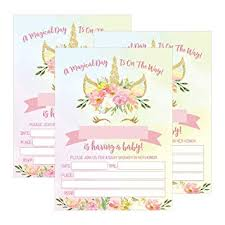 how to word a baby shower invitation 25 pink blush gold girl unicorn baby shower invitations cute floral printed fill or write in the blank invite flower shabby chic unique custom