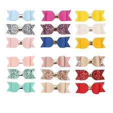 2019 girls hair accessories set faux leather bow hair clips felt glitter hairpins pu leather hairgrips sweet barrettes for children from factory top
