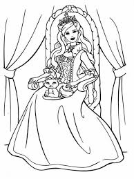 Small Picture Princess Barbie With A Cat Coloring Page Online Printable