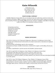Provided Customer Service Resumes Walgreens Service Clerk Resume Template Best Design Tips