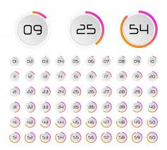 Circle Percentage Diagrams 0 To 100 Ui Pie Chart Vector