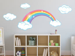 sparkling rainbow fabric wall decals with clouds pastel rainbow