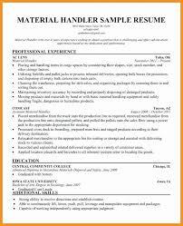 Material Handler Resume