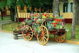 wooden flower cart