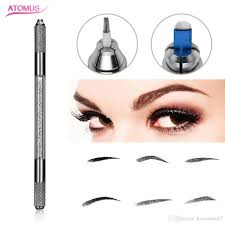 double heads permanent makeup manual pen for 3d embroidery double ended grain embroider crystal tattoo eyebrow pen for microblading permanent makeup colors