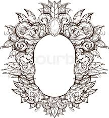 oval frame design. Beautiful Oval Frame With Roses. Baroque Decorative Border Of Flowers.  Outline Floral Element For Design Congratulations.   Stock Vector Colourbox I