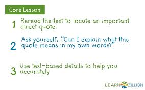 Learn How To Interpret A Direct Quote Learnzillion